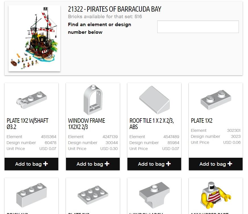 Miếng ghép LEGO Brick & Pieces được bán lại ở một số Quốc Gia