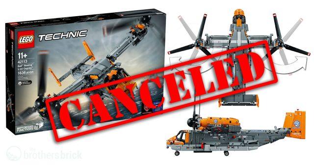 LEGO Technic Bell Boeing V-22 Osprey (42113) Chính thức bị hủy bỏ.